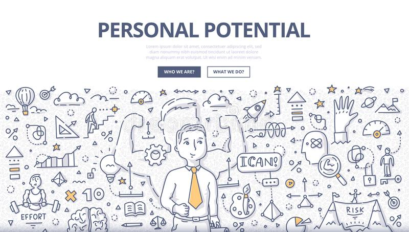 Concept potentiel personnel de griffonnage illustration stock