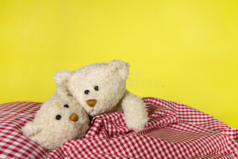 concept pour l 39 amour deux jouent des ours de nounours dans le lit photo stock image 40044626. Black Bedroom Furniture Sets. Home Design Ideas