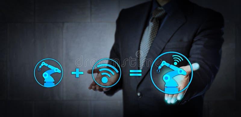 Concept pour l'industrie 4 0, usine futée et IoT photographie stock libre de droits