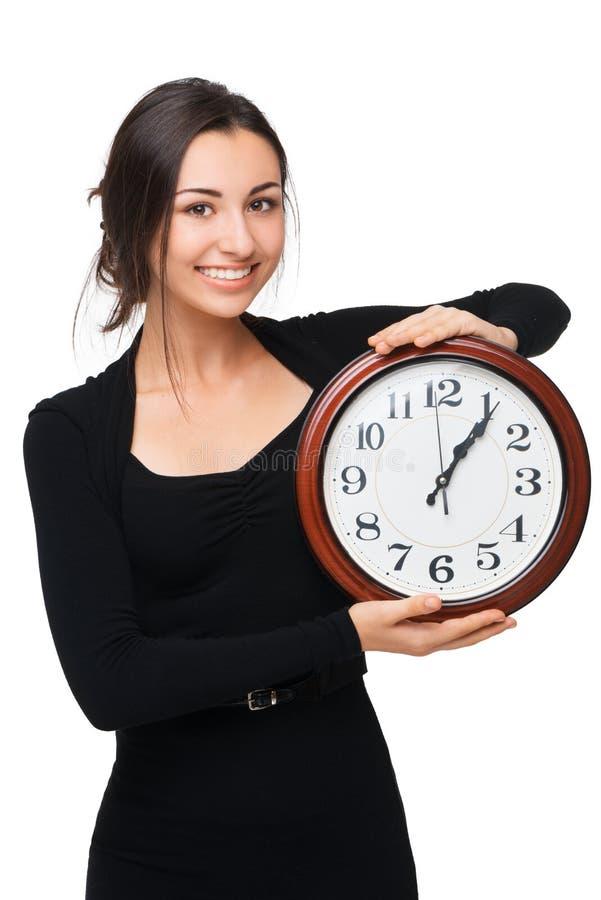 Concept pour le retard, femme avec l'horloge photos libres de droits
