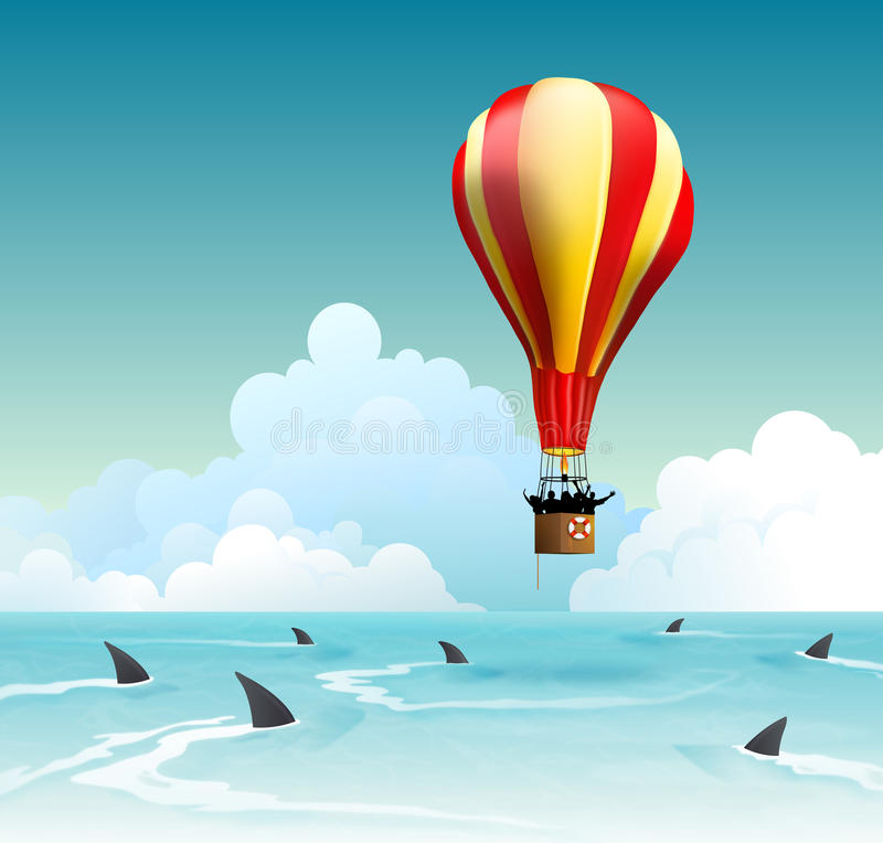 Concept pour le risque commercial, l'échec financier et la gestion des risques d'investissement illustration de vecteur