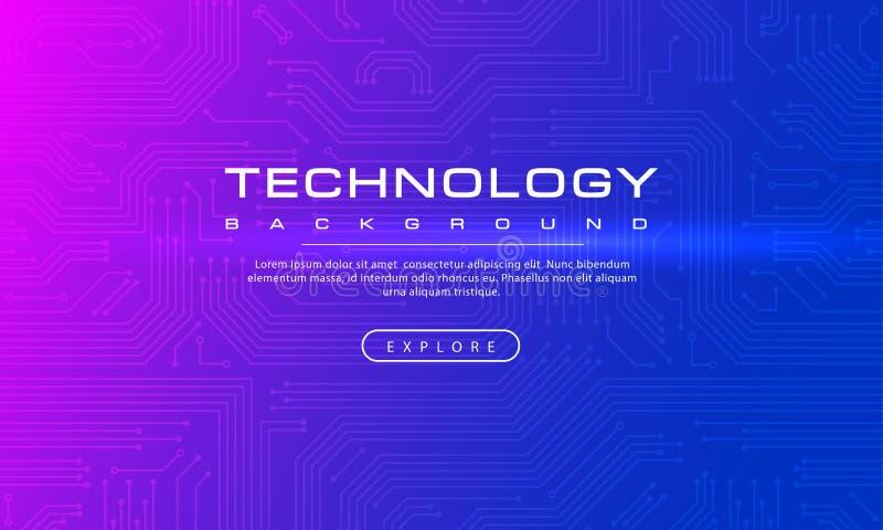 Concept pourpre bleu de fond de bannière abstraite de technologie avec la ligne technologie d'effets, texture bleue de fond, vect illustration libre de droits
