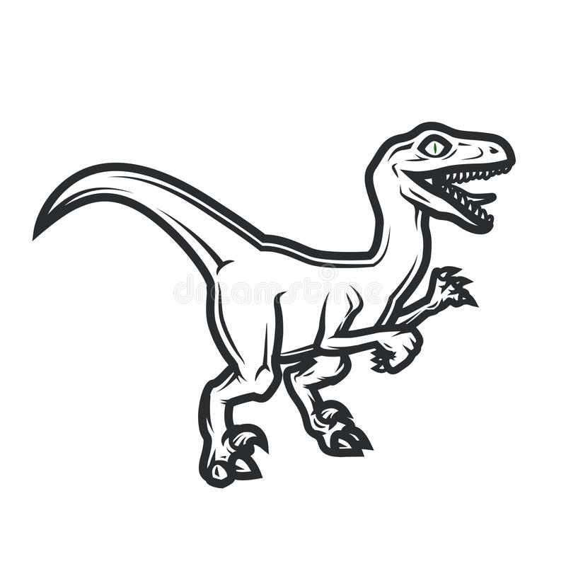 Concept préhistorique de logo de Dino Conception d'insignes de Raptor Illustration jurassique de dinosaure Concept de T-shirt sur illustration de vecteur