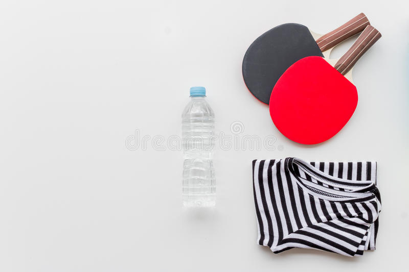 Concept preparing to fitness sports equipment top view. On white background stock images