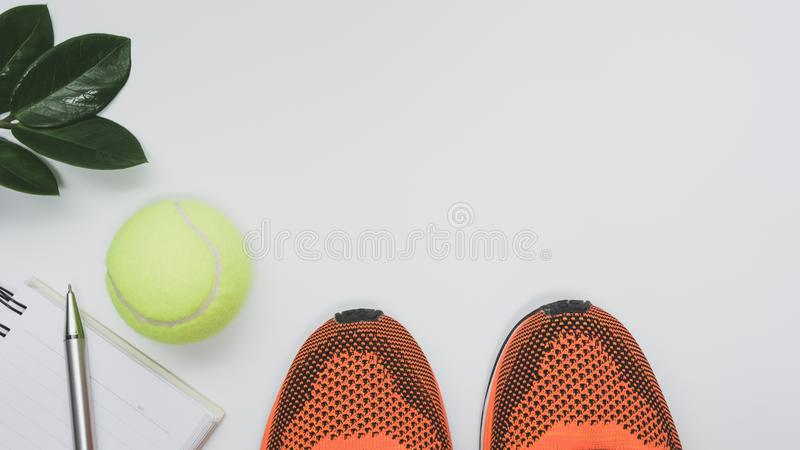 Concept preparing to fitness sports equipment top view on white stock images