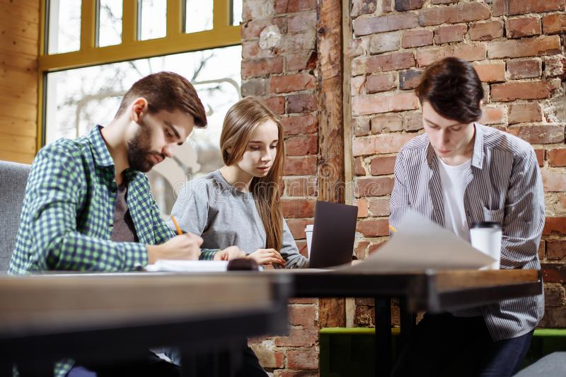 Concept of presentation new business project. Group of young coworkers discussing ideas with each other in modern office. stock photos