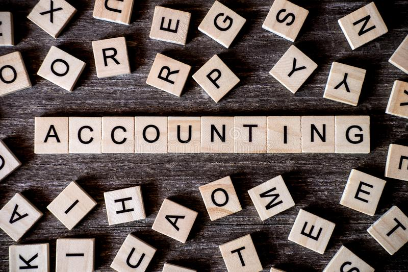 Concept presented by crossword with words accounting with many w royalty free stock photos