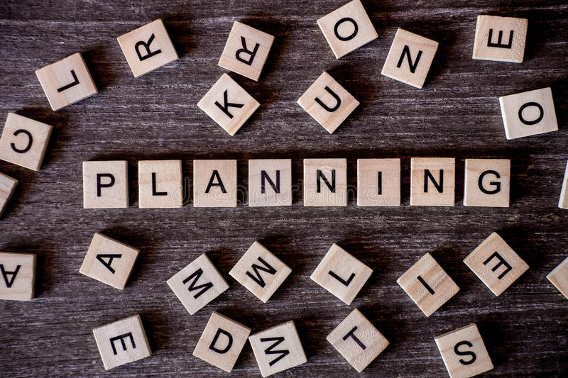 Concept presented by crossword with words planning with many woo stock photo