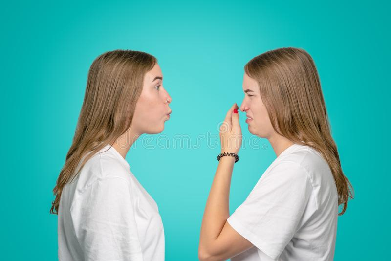 A concept about the problem when a person has bad breath royalty free stock photo