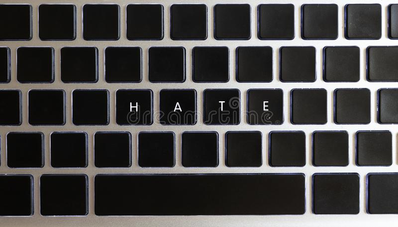Concept of problems of today internet. Hate caption isolated on notebook keyboard with blank keys royalty free stock image
