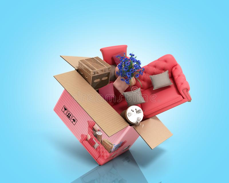 Concept of product categories furniture and decor fly out of the box 3d render on blue. Concept of product categories furniture and decor fly out of the box 3d royalty free illustration