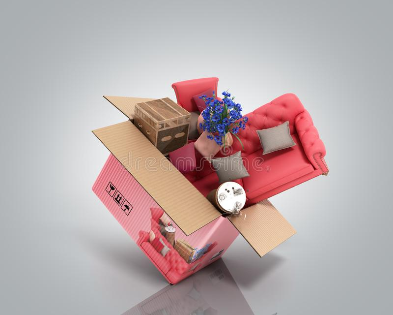 Concept of product categories furniture and decor fly out of the box 3d render on grey. Concept of product categories furniture and decor fly out of the box 3d royalty free illustration