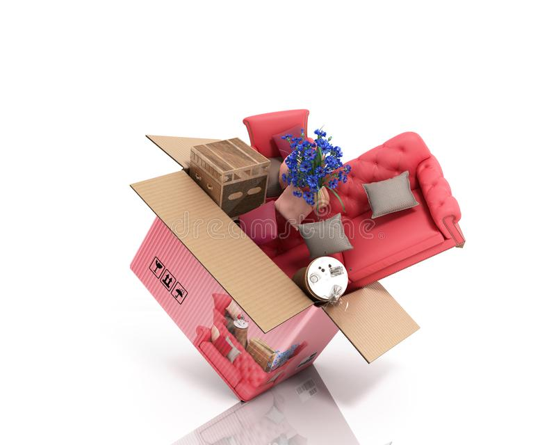 Concept of product categories furniture and decor fly out of the box 3d render on white. Concept of product categories furniture and decor fly out of the box 3d royalty free illustration