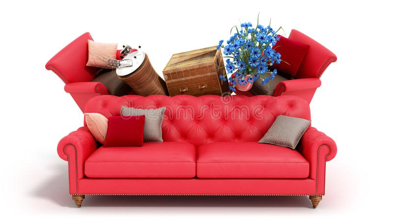 Concept of product categories furniture and decor on white background. Concept of product categories furniture and decor on white stock illustration