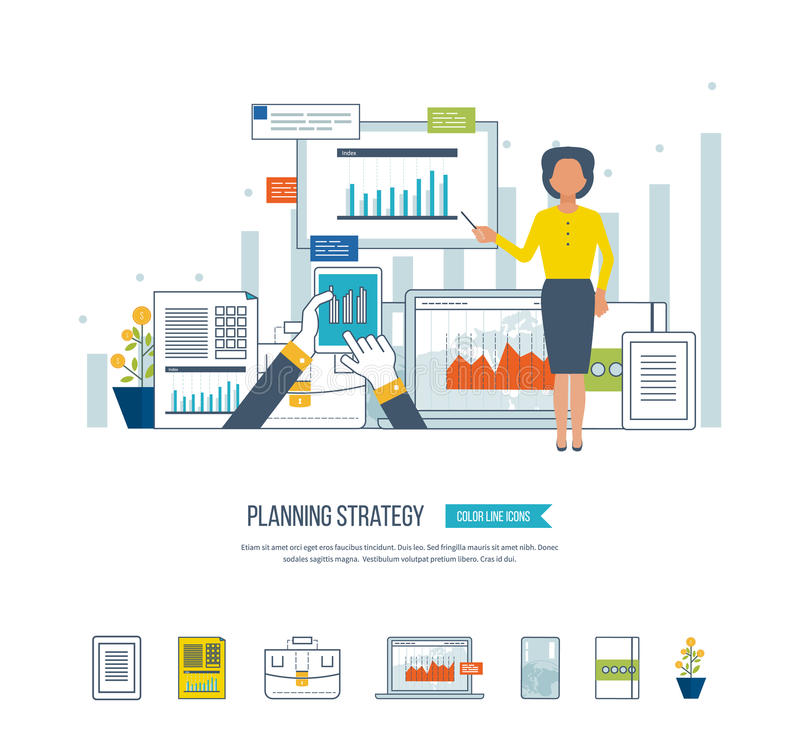 Concept for project management, investment, finance, financial report, education. vector illustration