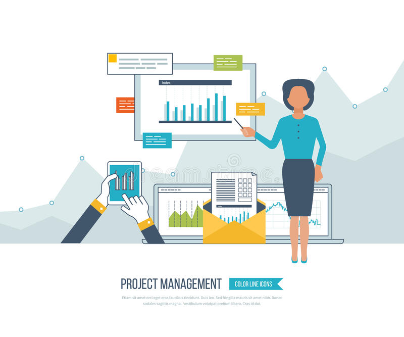Concept for project management, investment, finance, financial report, education. Concept for project and strategic management, investment, strategy planning vector illustration