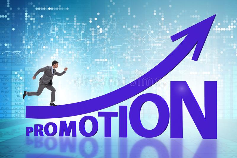 Concept of promotion with businessman royalty free stock image
