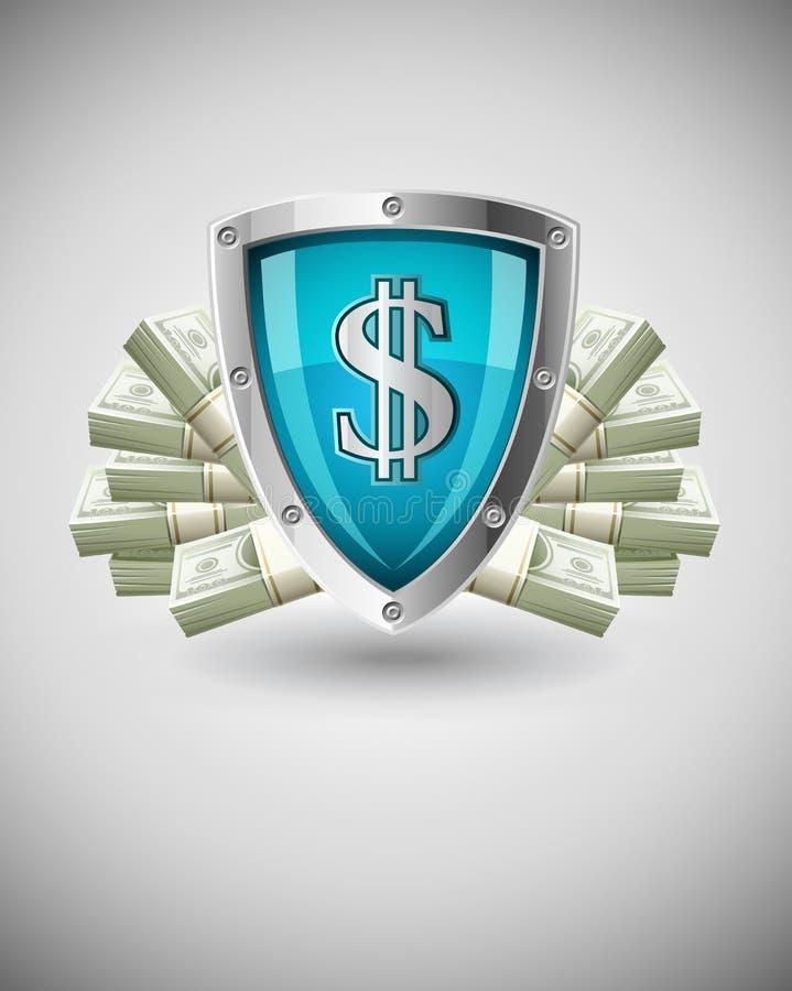 Concept protecteur d'affaires d'argent d'écran protecteur de garantie illustration stock