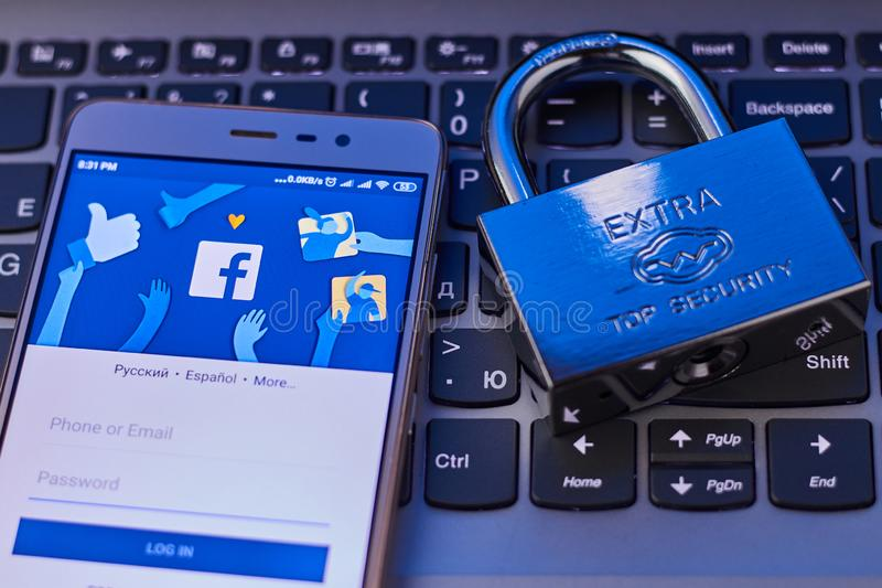 The concept of protecting personal data in the social network Facebook. Security social networks. Cheboksary, Russia. 4/22/2019 stock photos