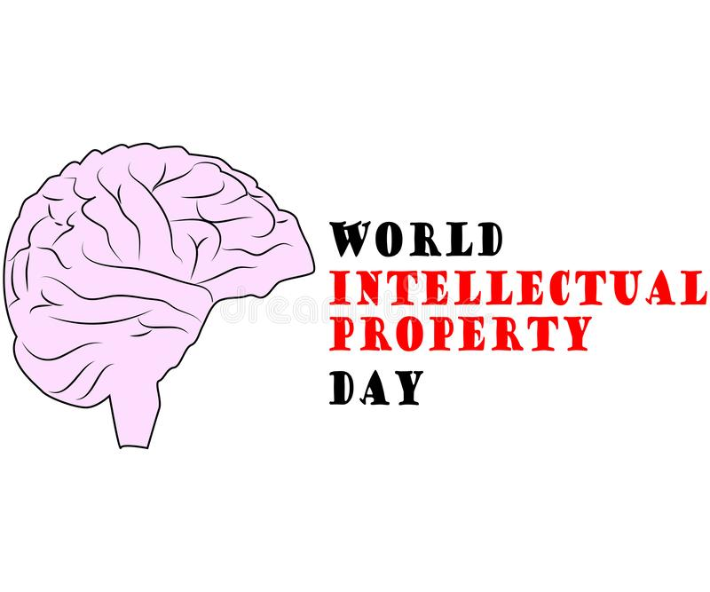 Concept of protection of copyright, intellectual property in the form of an icon of copyright on the castle. World Intellectual Property Day. concept of stock illustration