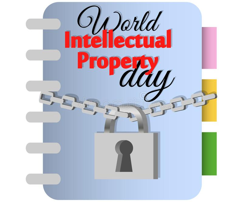 Concept of protection of copyright, intellectual property in the form of an icon of copyright on the castle. World Intellectual Property Day. concept of royalty free illustration