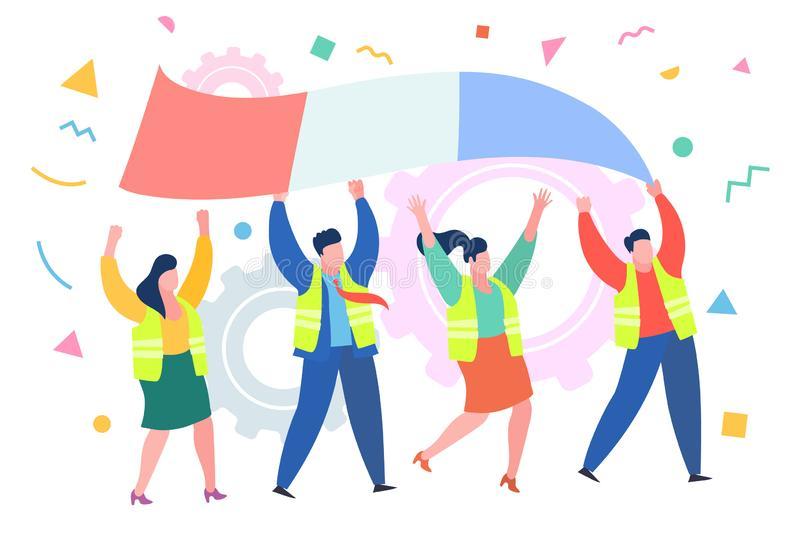 Concept of protest. Demonstration of yellow vests against a new increase in taxes imposed by the French government. stock illustration