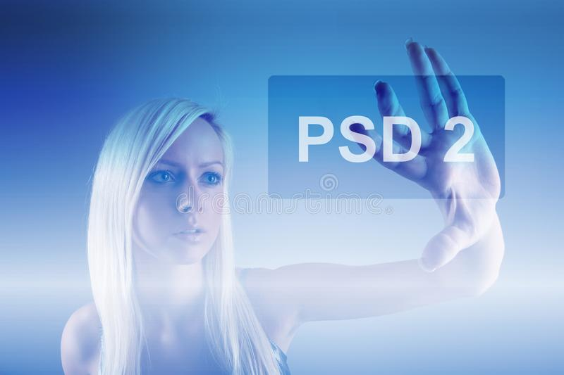 Concept of PSD2 - Payment services directive stock photo