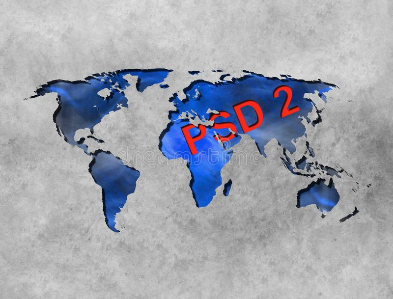 Concept of PSD2 - Payment services directive. EU directive royalty free illustration