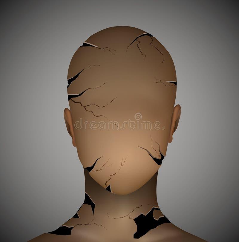 Concept psychologique des maladies, trop d'idée d'effort, idée cassée d'homme, les résultats du concept d'effort, illustration stock