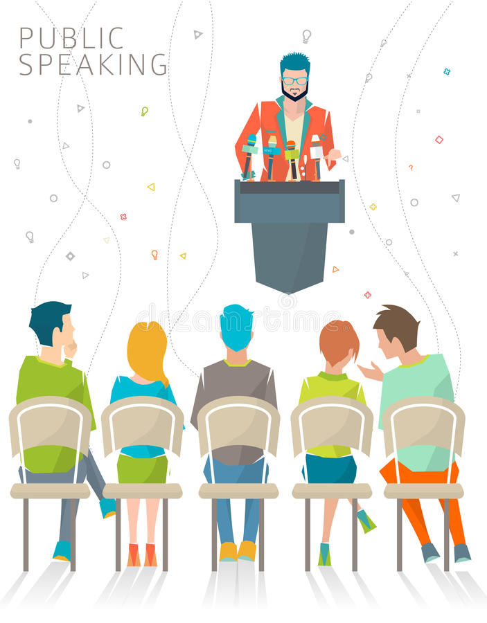 Concept of public speaking royalty free illustration