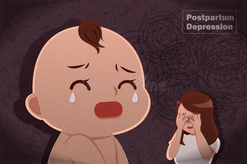 Concept puerpéral de dépression illustration libre de droits