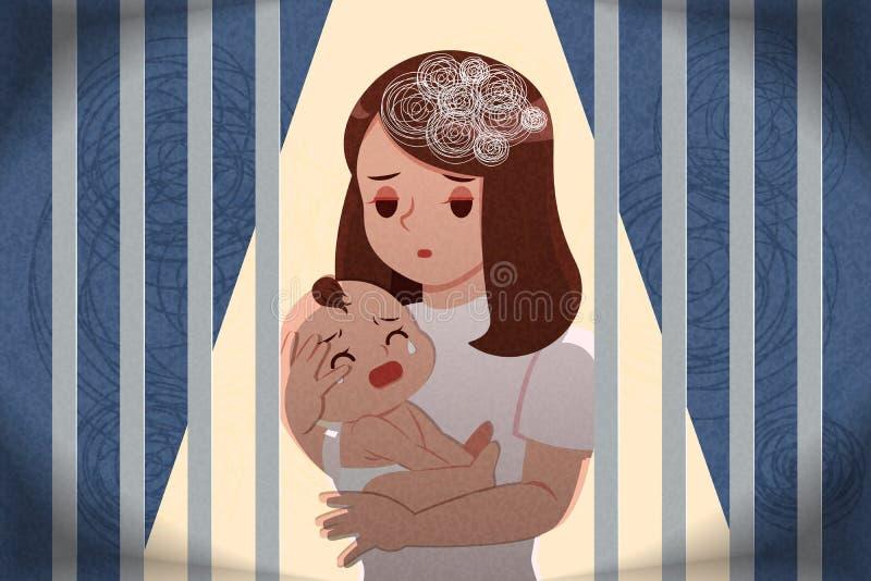 Concept puerpéral de dépression illustration de vecteur