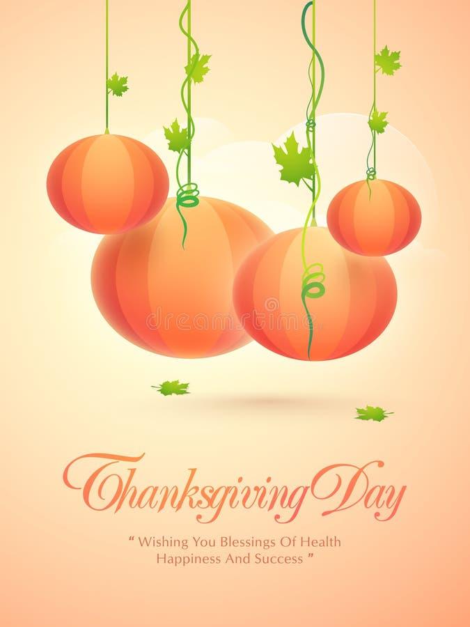 Concept of pumpkins for Thanksgiving Day celebration. stock illustration