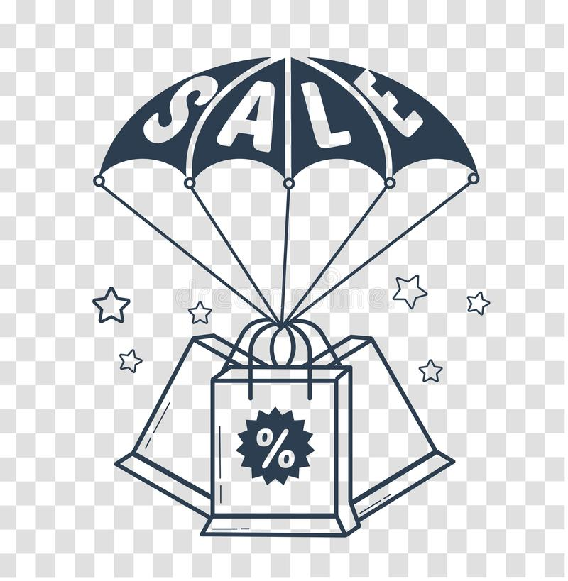 Concept of purchases sale. Concept of purchases, sales of goods as parachute with the inscription sale and packages. icon, silhouette in the linear style stock illustration