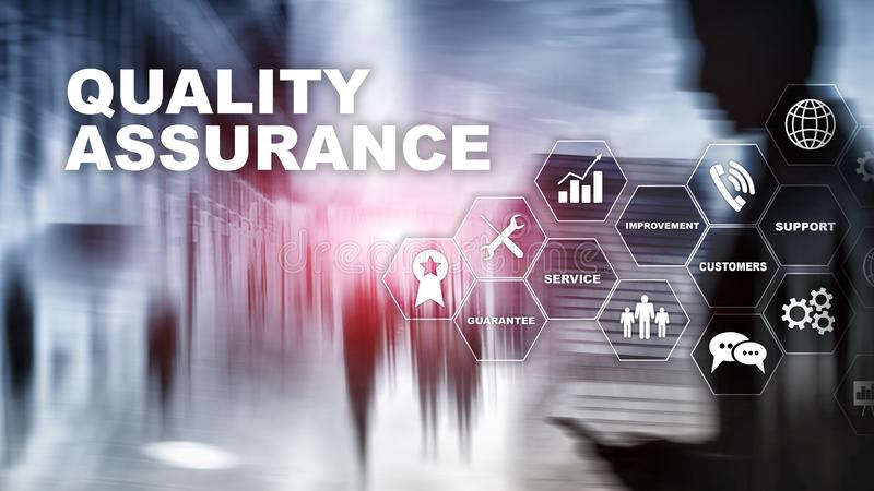 The Concept of Quality Assurance and Impact on Businesses. Quality control. Service Guarantee. Mixed media royalty free stock image