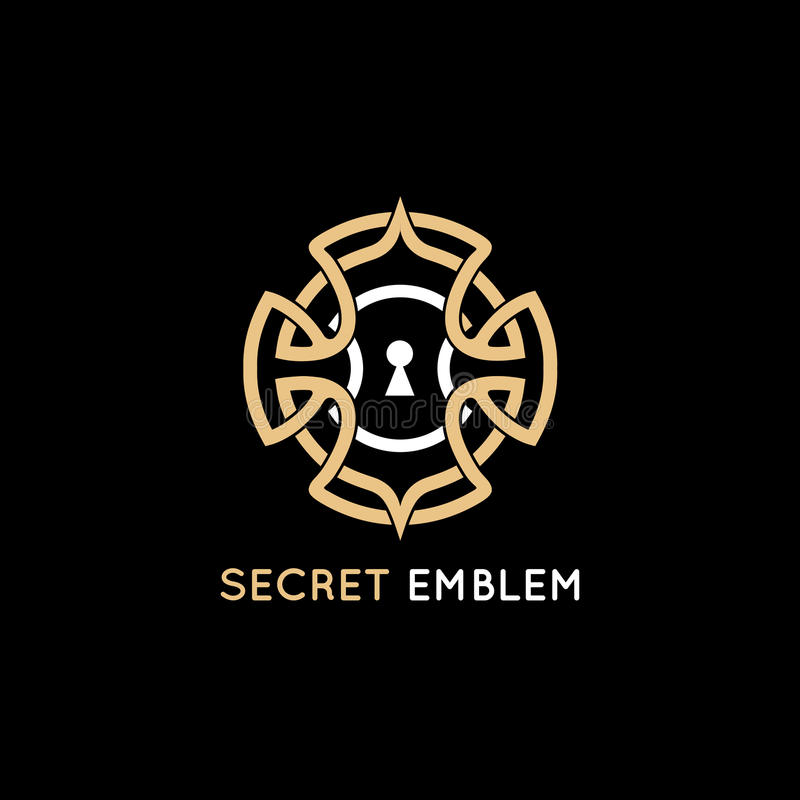 Concept for quest game. Vector logo design template - keyhole emblem in vintage style and golden color - concept for quest game, real-life room escape and puzzle royalty free illustration