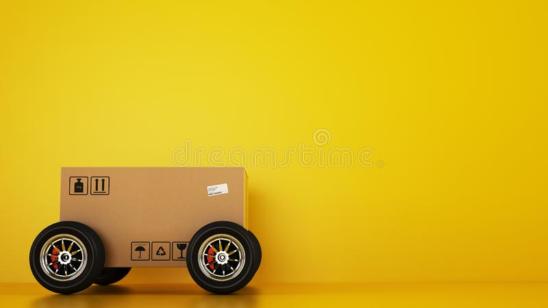 Cardboard box with racing wheels like a car on a yellow background. Fast shipping by road royalty free illustration