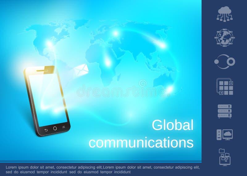 Concept réaliste de télécommunication mondiale illustration stock