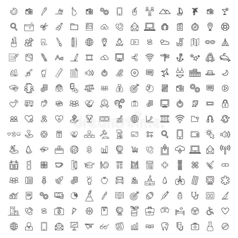 Concept réglé de collection de graphique de signe d'icône illustration libre de droits