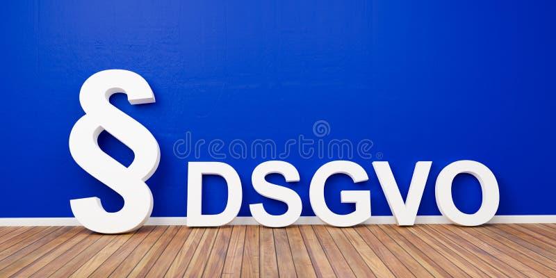 Concept réglementaire de protection des données de base de DSGVO avec le symbole de paragraphe sur le mur bleu - rendu 3D illustration libre de droits