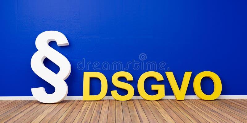 Concept réglementaire de protection des données de base jaune de DSGVO avec le symbole blanc de paragraphe sur le mur bleu - rend illustration stock