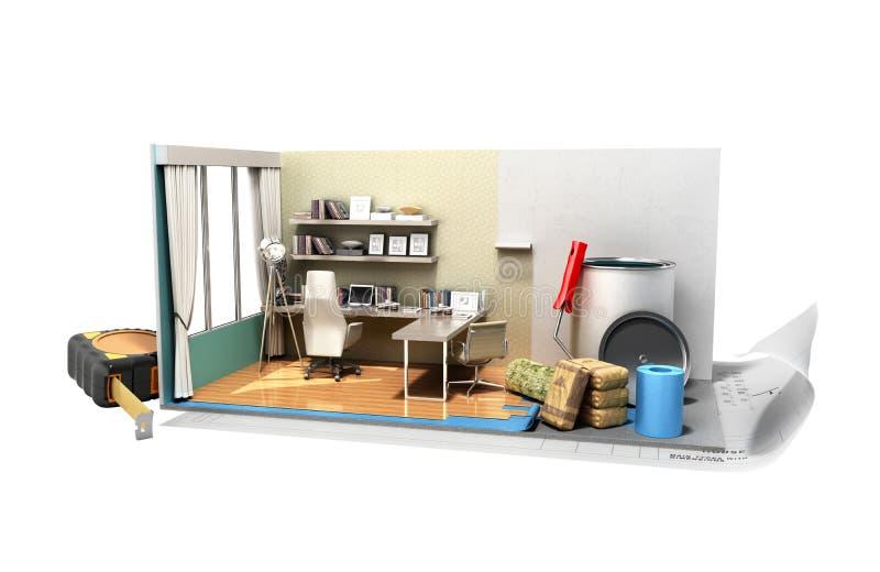 Concept rénovation isométrique i de pièce à la maison de travail de réparation de la basse poly illustration libre de droits