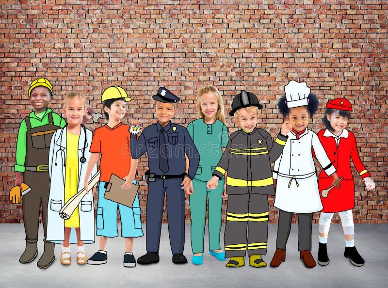 Concept rêveur de professions de diversité des travaux d'enfants d'enfants illustration libre de droits