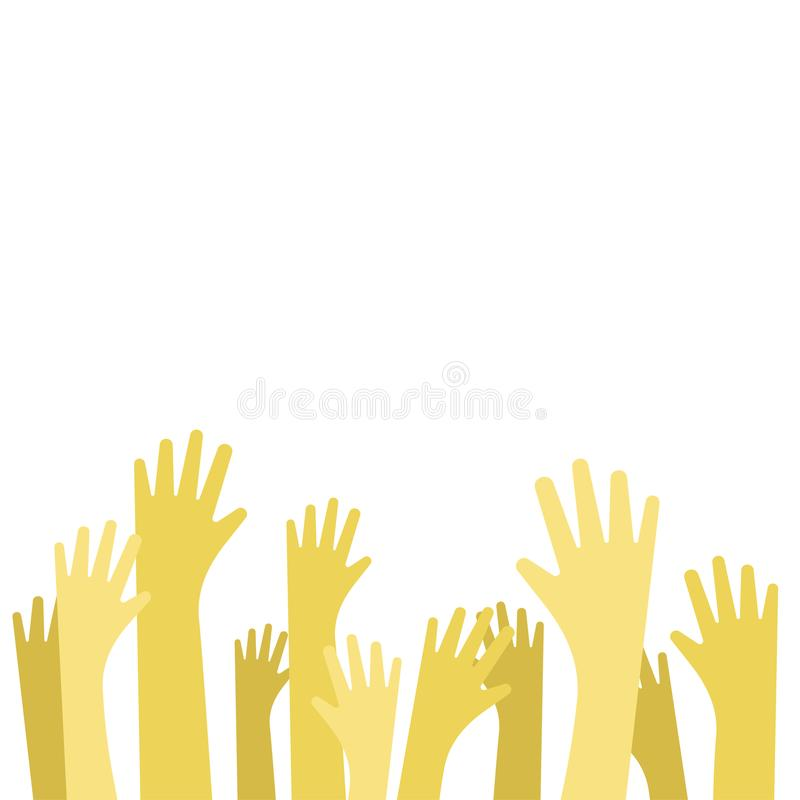 Concept of raised up hands. Vector flat illustration of education, business train vector illustration