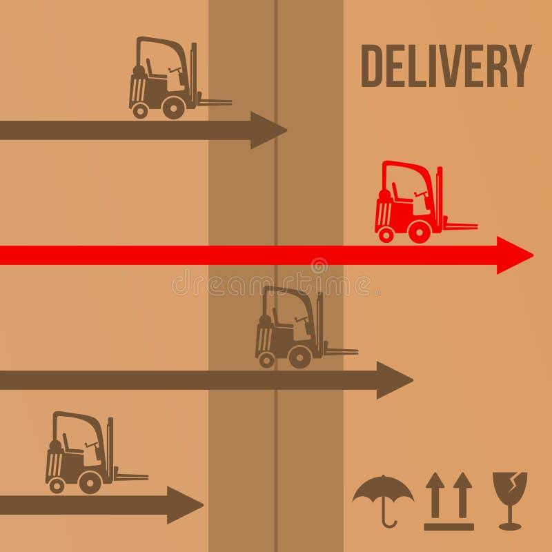 Concept rapide d'icônes de chariots élévateurs de la livraison Vecteur illustration stock