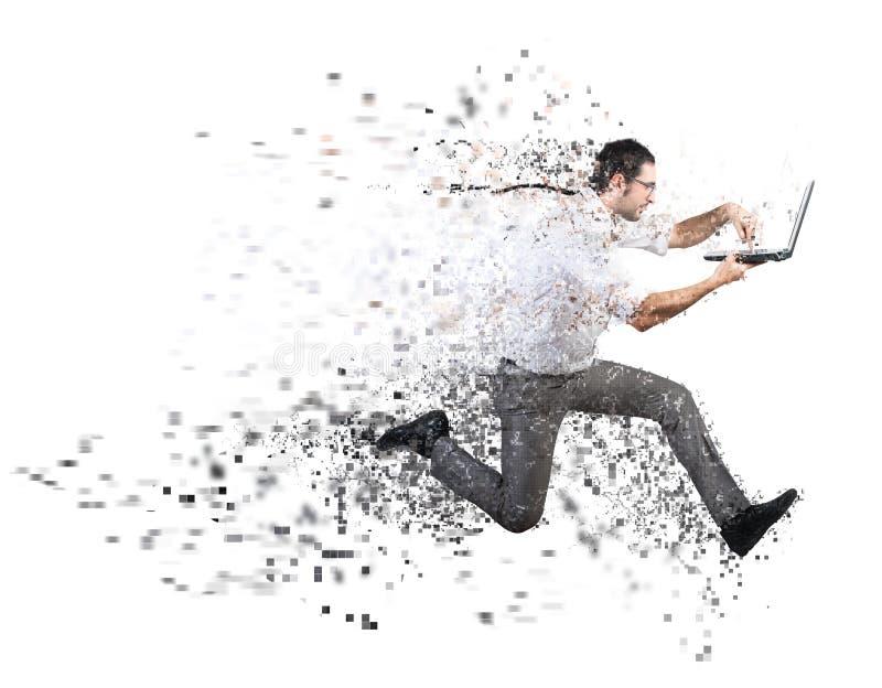 Concept rapide de connexion internet avec l'homme d'affaires courant image stock