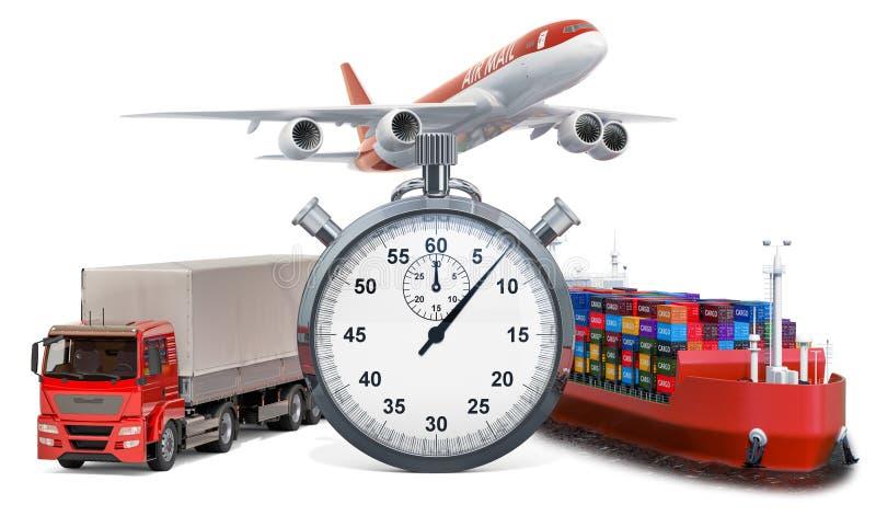 Concept rapide de la distribution Chronomètre avec le cargo de camion, d'avion et rendu 3d illustration libre de droits