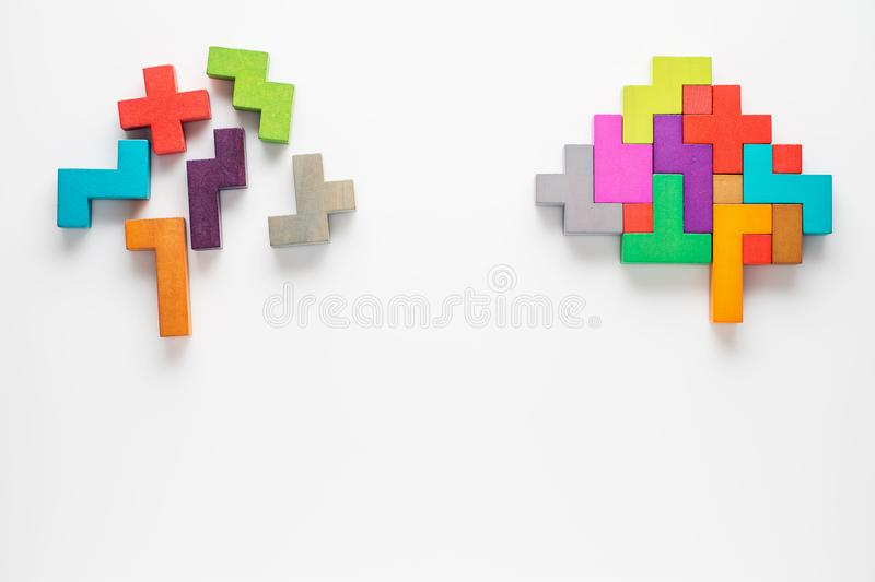 Colourful shapes of abstract brain. The concept of rational and irrational thinking. Colourful shapes of abstract brain for concept of idea and teamwork royalty free stock images