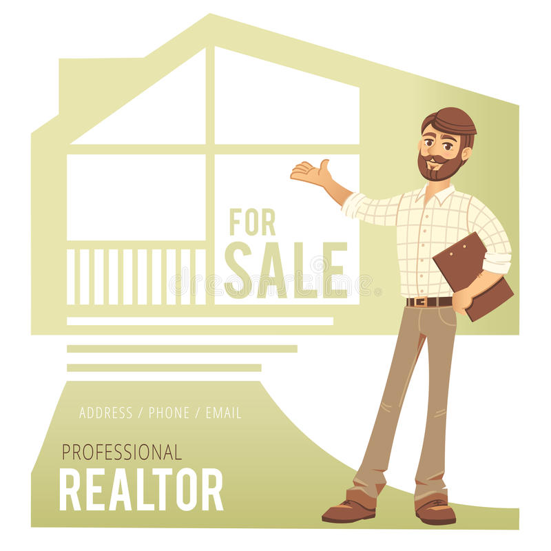 Concept of real estate services. Agent showing a house. Character man realtor with folder in hand. For the design vector illustration