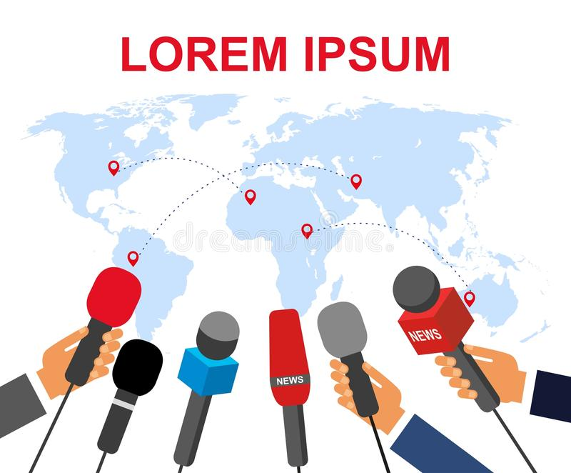 The concept of a real report. Many journalists with microphones in their hands on the background of the world map/ vector illustration